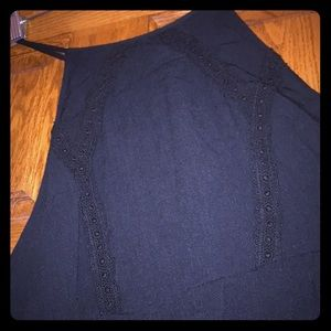 Embroidered Black Sun Dress Skinny Straps